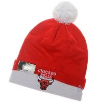 Chicago Bulls nba new era шапка с помпоном бело-красная
