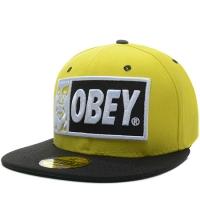 OBEY snapback кепка с прямым козырьком черно-желтая