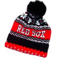 Boston Red Sox mlb new era спортивная шапка с помпоном красно-черная
