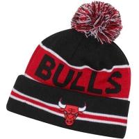 Chicago Bulls nba new era шапка с помпоном черно-красная