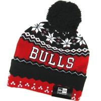 Chicago Bulls nba new era шапка с помпоном красно-черная