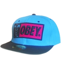 OBEY snapback кепка с прямым козырьком черно-голубая
