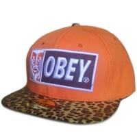 OBEY snapback кепка с прямым леопардовым козырьком оранжевая