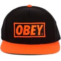 OBEY snapback кепка с прямым козырьком черно-оранжевая