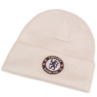 Chealsea FC футбольная зимняя шапка с отворотом белая