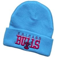 Chicago Bulls nba спортивная зимняя шапка с отворотом голубая