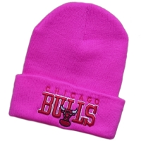 Chicago Bulls nba спортивная зимняя шапка с отворотом розовая