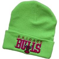 Chicago Bulls nba спортивная зимняя шапка с отворотом салатовая