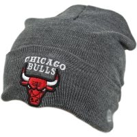 Chicago Bulls nba new era спортивная зимняя шапка с отворотом серая