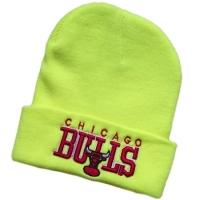 Chicago Bulls nba спортивная зимняя шапка с отворотом желтая