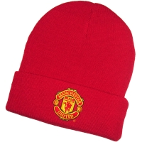 Manchester United FC футбольная зимняя шапка с отворотом красная
