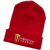 Monster Energy спортивная зимняя шапка с отворотом красная