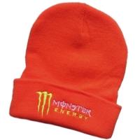 Monster Energy спортивная зимняя шапка с отворотом оранжевая