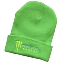 Monster Energy спортивная зимняя шапка с отворотом салатовая