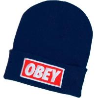 OBEY шапка зимняя молодежная с отворотом темно-синяя