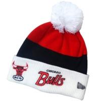 Chicago Bulls nba new era шапка с помпоном бело-черно-красная