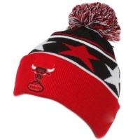 Chicago Bulls nba new era stars шапка с помпоном красно-черная