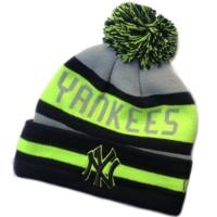 New York Yankees mlb new era NY шапка с помпоном черно-салатовая