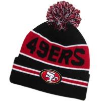San Francisco 49ers nfl new era шапка с помпоном черно-красная
