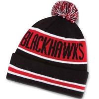 Chicago Blackhawks nhl new era шапка с помпоном черно-красная