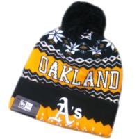 Oakland Athletics mlb new era A's спортивная шапка с помпоном черно-желтая