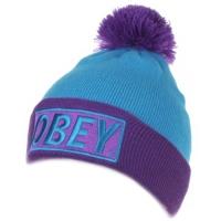 OBEY зимняя молодежная шапка с помпоном голубая
