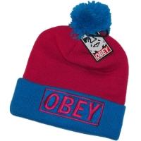 OBEY зимняя молодежная шапка с помпоном розовая