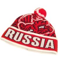 RUSSIA спортивная зимняя шапка с помпоном флисовая красная