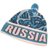 RUSSIA спортивная шапка с помпоном флисовая голубая