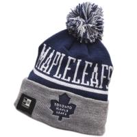 Toronto Maple Leafs nhl new era хоккейная шапка с помпоном серо-синяя