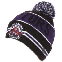 Toronto Raptors nba new era шапка с помпоном черно-фиолетовая