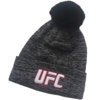 UFC спортивная шапка с помпоном серая